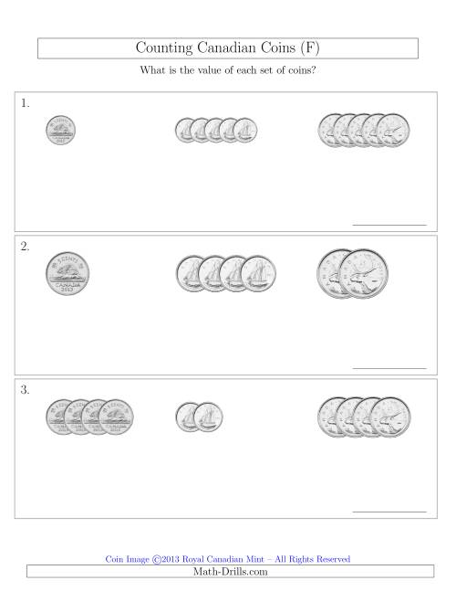 The Counting Small Collections of Canadian Coins Sorted Version (No Dollar Coins) (F) Math Worksheet