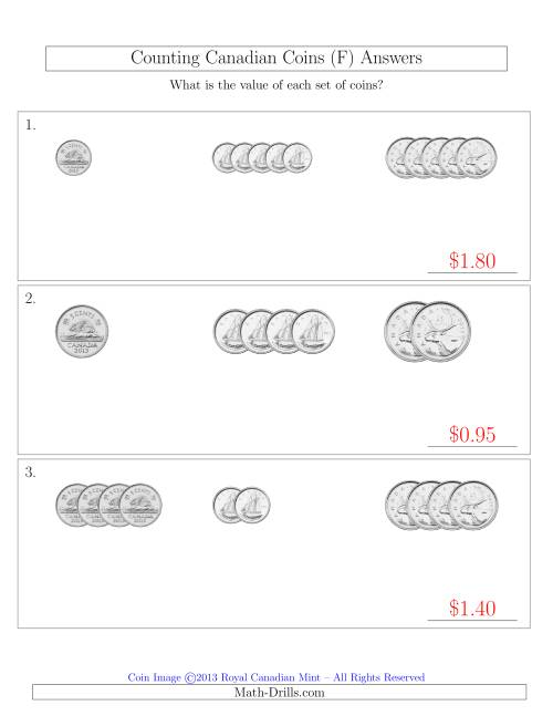 The Counting Small Collections of Canadian Coins Sorted Version (No Dollar Coins) (F) Math Worksheet Page 2