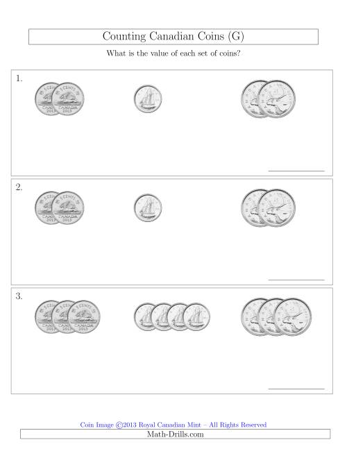 The Counting Small Collections of Canadian Coins Sorted Version (No Dollar Coins) (G) Math Worksheet