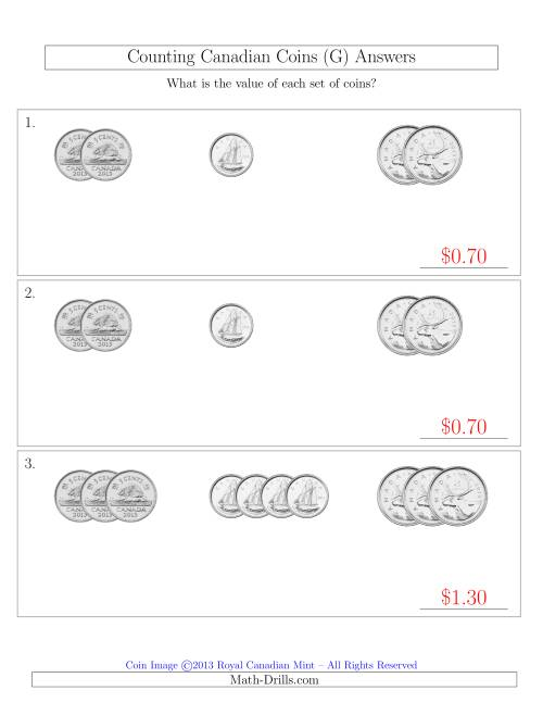 The Counting Small Collections of Canadian Coins Sorted Version (No Dollar Coins) (G) Math Worksheet Page 2