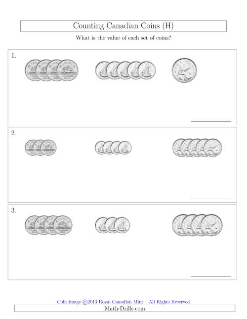 The Counting Small Collections of Canadian Coins Sorted Version (No Dollar Coins) (H) Math Worksheet