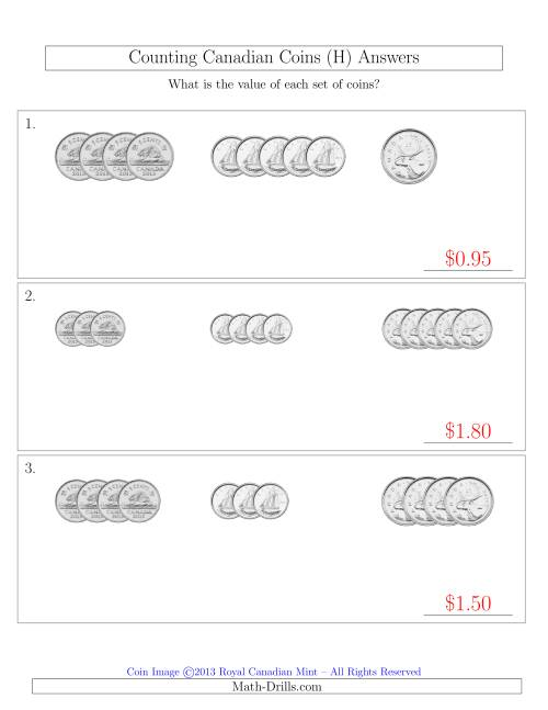 The Counting Small Collections of Canadian Coins Sorted Version (No Dollar Coins) (H) Math Worksheet Page 2