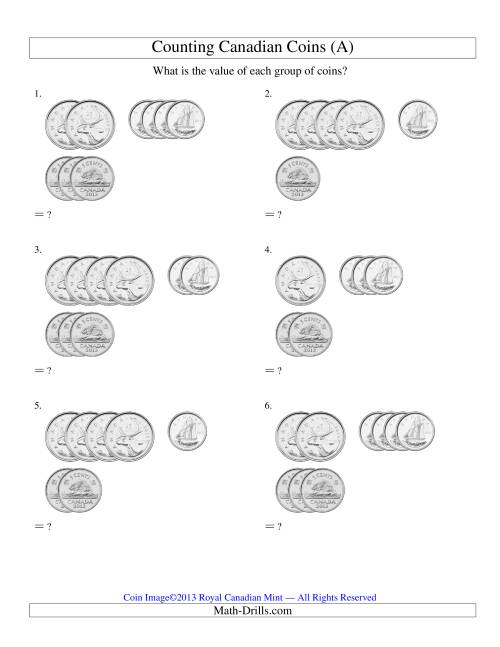 The Counting Small Collections of Canadian Coins Sorted Version (No Dollar Coins) (Old) Math Worksheet