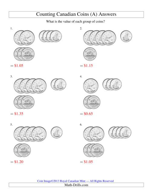 The Counting Small Collections of Canadian Coins Sorted Version (No Dollar Coins) (Old) Math Worksheet Page 2