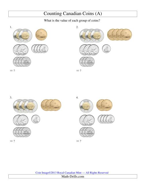 The Counting Small Collections of Canadian Coins Sorted Version (Old) Math Worksheet