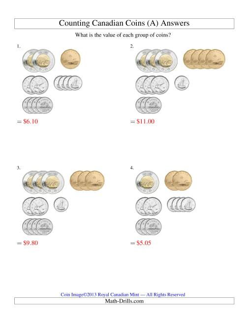 The Counting Small Collections of Canadian Coins Sorted Version (Old) Math Worksheet Page 2