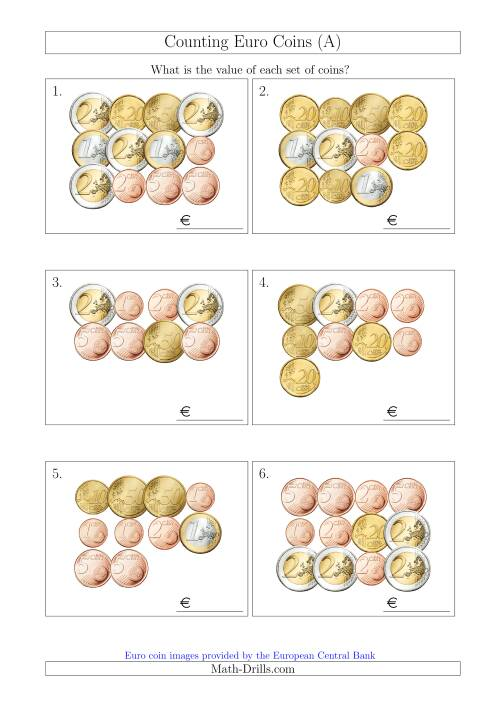 The Counting Euro Coins (A) Math Worksheet