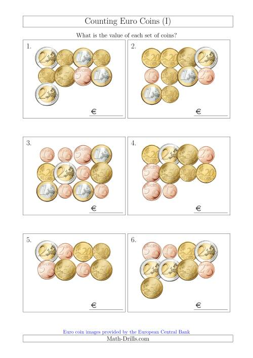 The Counting Euro Coins (I) Math Worksheet