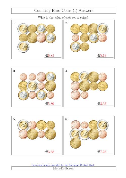 The Counting Euro Coins (I) Math Worksheet Page 2