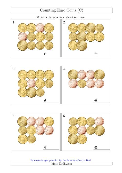 The Counting Euro Coins Including Only 5, 10, 20 and 50 Cent Coins (C) Math Worksheet