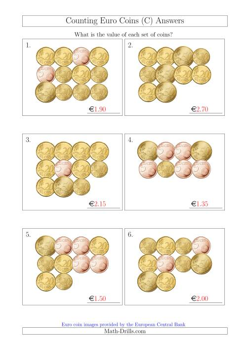 The Counting Euro Coins Including Only 5, 10, 20 and 50 Cent Coins (C) Math Worksheet Page 2