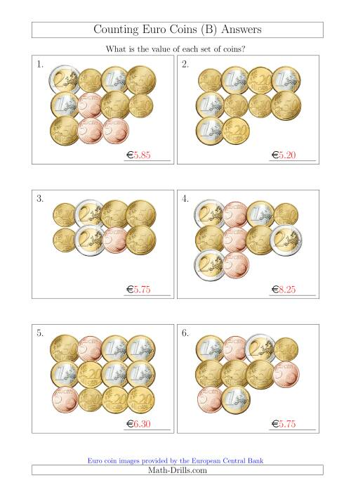 The Counting Euro Coins Without 1 or 2 Cent Coins (B) Math Worksheet Page 2