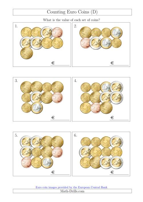 The Counting Euro Coins Without 1 or 2 Cent Coins (D) Math Worksheet