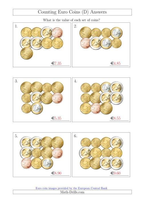 The Counting Euro Coins Without 1 or 2 Cent Coins (D) Math Worksheet Page 2
