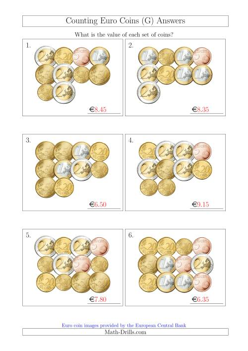 The Counting Euro Coins Without 1 or 2 Cent Coins (G) Math Worksheet Page 2