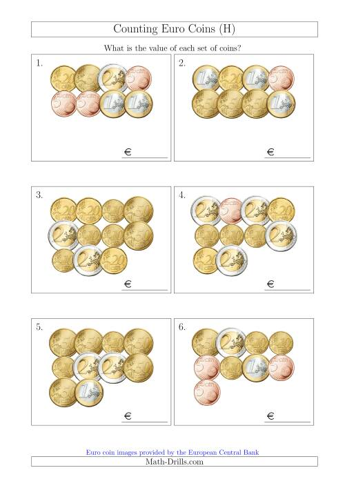 The Counting Euro Coins Without 1 or 2 Cent Coins (H) Math Worksheet
