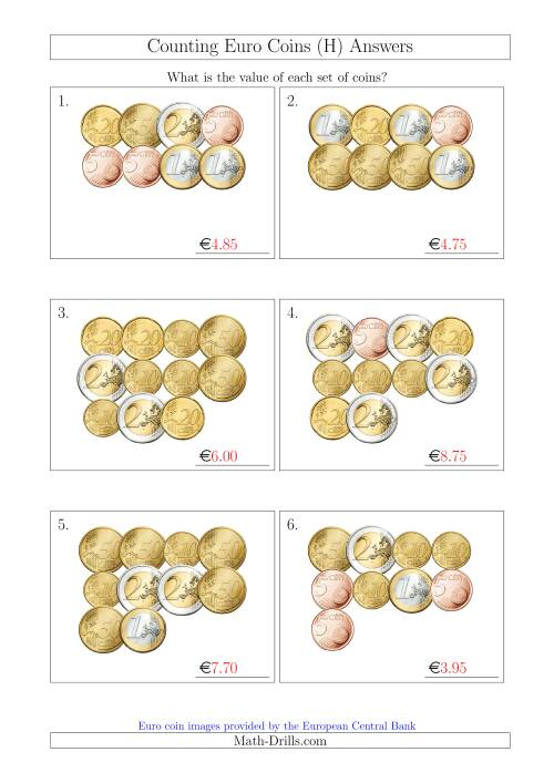The Counting Euro Coins Without 1 or 2 Cent Coins (H) Math Worksheet Page 2