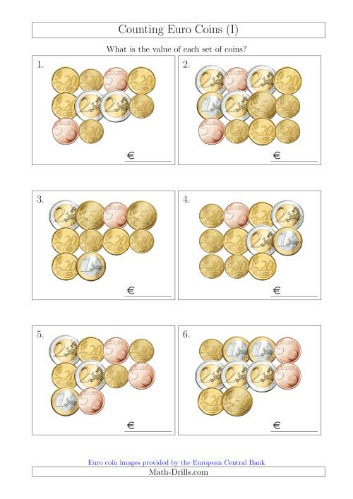 The Counting Euro Coins Without 1 or 2 Cent Coins (I) Math Worksheet