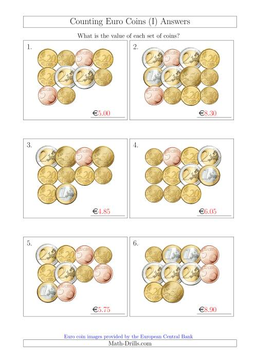 The Counting Euro Coins Without 1 or 2 Cent Coins (I) Math Worksheet Page 2