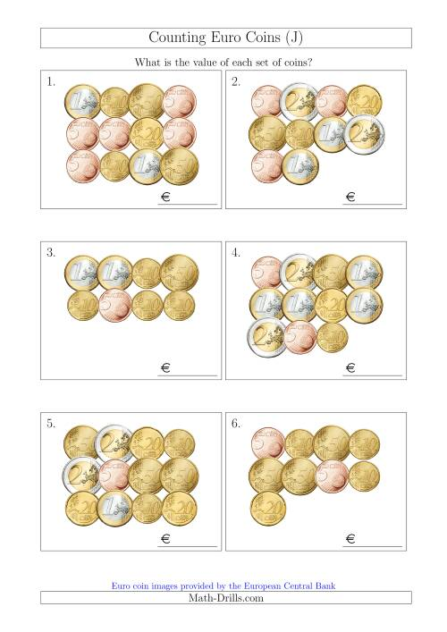 The Counting Euro Coins Without 1 or 2 Cent Coins (J) Math Worksheet