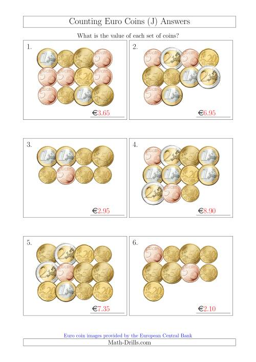 The Counting Euro Coins Without 1 or 2 Cent Coins (J) Math Worksheet Page 2