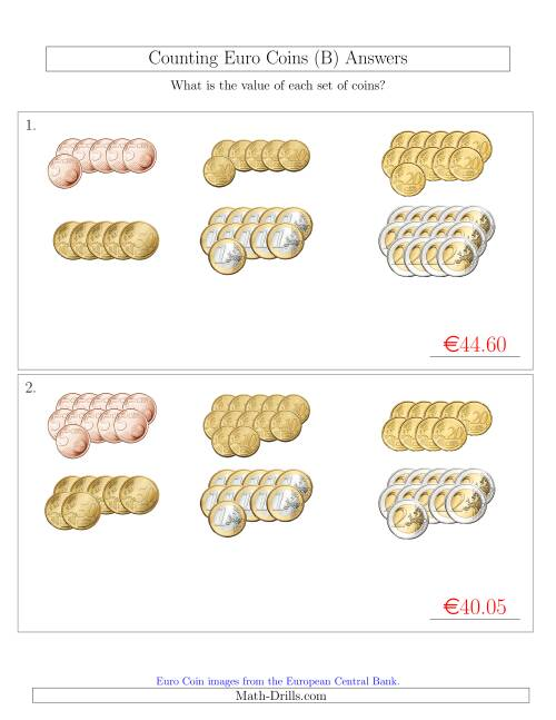 The Counting Euro Coins Sorted Version (No 1 or 2 Cents) (B) Math Worksheet Page 2
