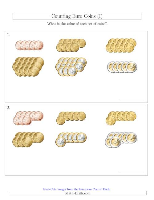 The Counting Euro Coins Sorted Version (No 1 or 2 Cents) (I) Math Worksheet