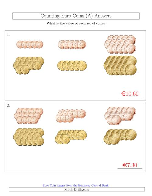 The Counting Euro Coins Sorted Version (No 1 or 2 Euro Coins) (A) Math Worksheet Page 2