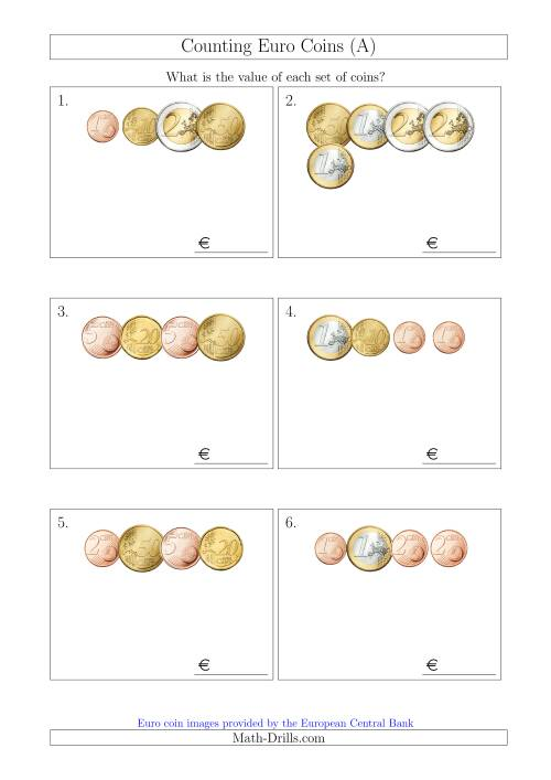 The Counting Small Collections of Euro Coins (A) Money Worksheet