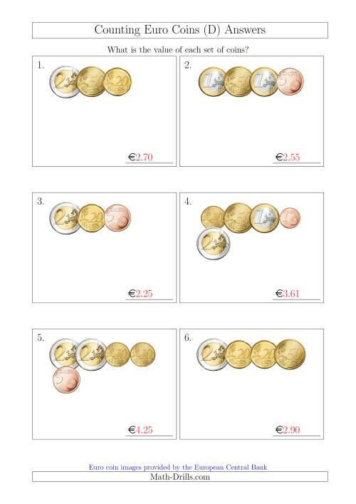The Counting Small Collections of Euro Coins (D) Math Worksheet Page 2