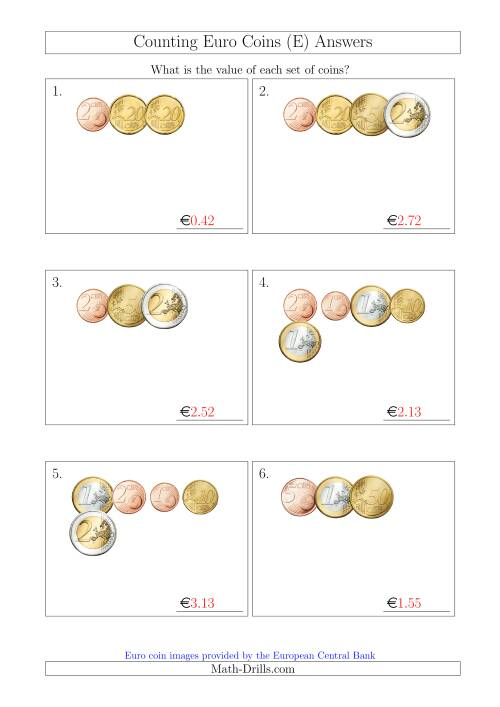 The Counting Small Collections of Euro Coins (E) Math Worksheet Page 2