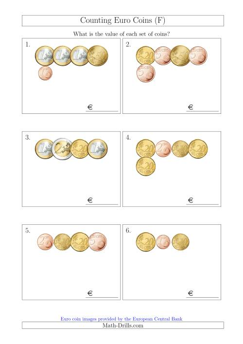 The Counting Small Collections of Euro Coins (F) Math Worksheet