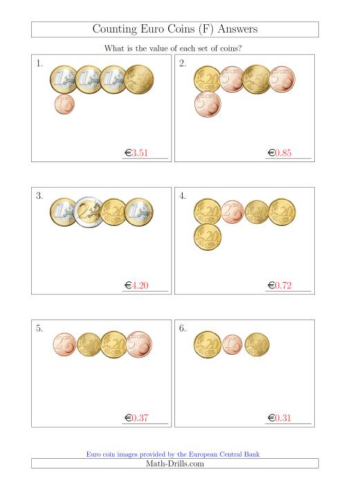 The Counting Small Collections of Euro Coins (F) Math Worksheet Page 2