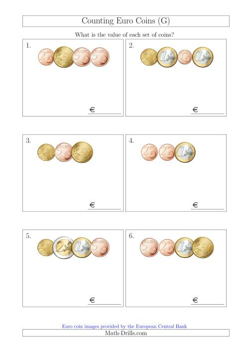 The Counting Small Collections of Euro Coins (G) Math Worksheet