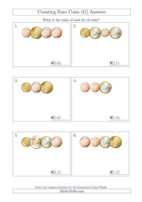 The Counting Small Collections of Euro Coins (G) Math Worksheet Page 2