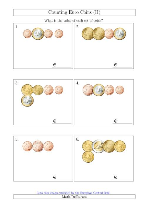 The Counting Small Collections of Euro Coins (H) Math Worksheet