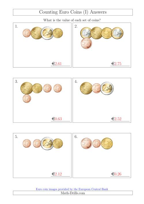 The Counting Small Collections of Euro Coins (I) Math Worksheet Page 2