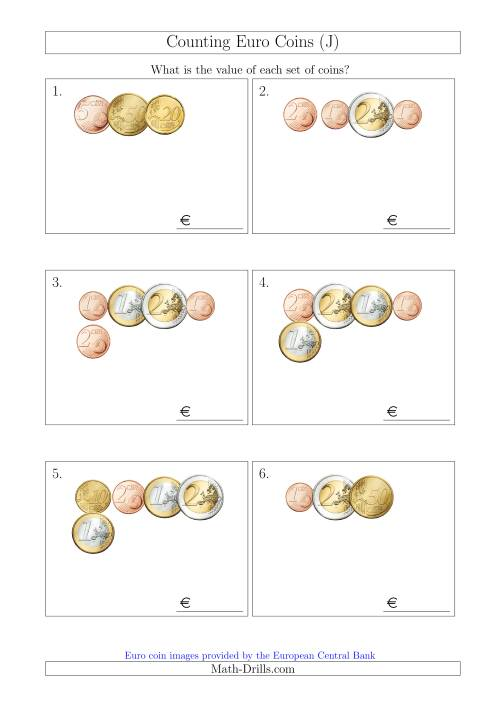The Counting Small Collections of Euro Coins (J) Math Worksheet