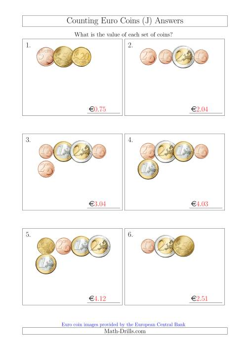 The Counting Small Collections of Euro Coins (J) Math Worksheet Page 2