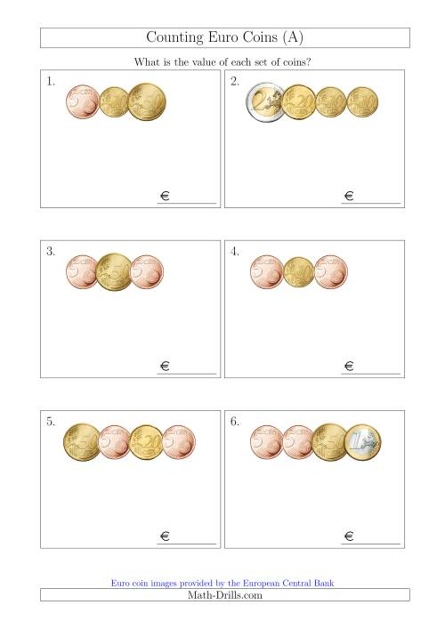 The Counting Small Collections of Euro Coins Without 1 or 2 Cent Coins (A) Math Worksheet