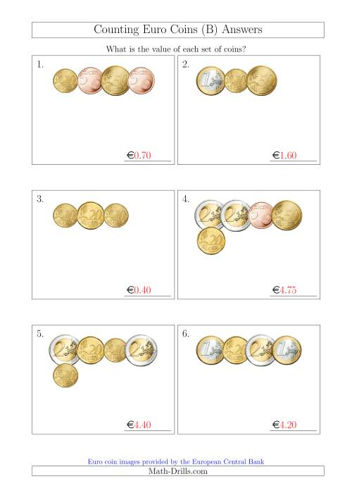 The Counting Small Collections of Euro Coins Without 1 or 2 Cent Coins (B) Math Worksheet Page 2