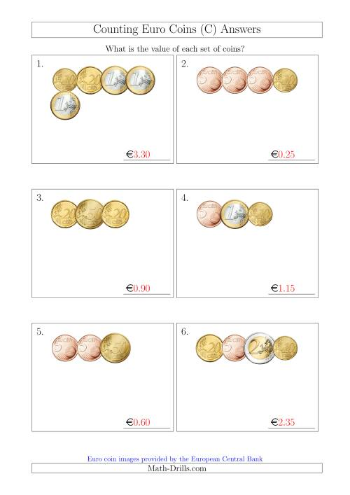The Counting Small Collections of Euro Coins Without 1 or 2 Cent Coins (C) Math Worksheet Page 2