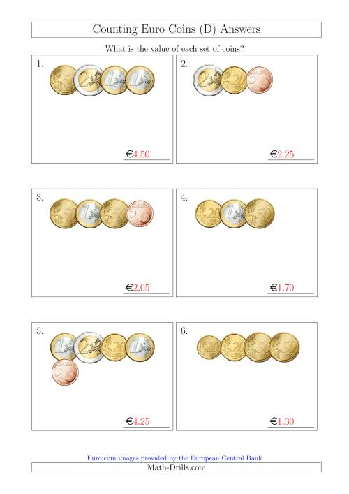 The Counting Small Collections of Euro Coins Without 1 or 2 Cent Coins (D) Math Worksheet Page 2