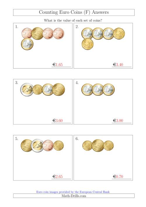 The Counting Small Collections of Euro Coins Without 1 or 2 Cent Coins (F) Math Worksheet Page 2