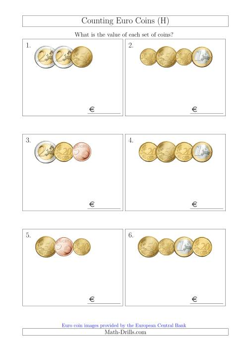 The Counting Small Collections of Euro Coins Without 1 or 2 Cent Coins (H) Math Worksheet
