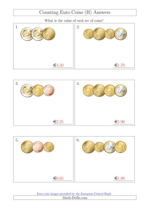 The Counting Small Collections of Euro Coins Without 1 or 2 Cent Coins (H) Math Worksheet Page 2