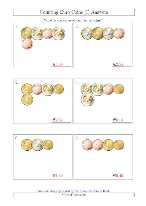 The Counting Small Collections of Euro Coins Without 1 or 2 Cent Coins (I) Math Worksheet Page 2