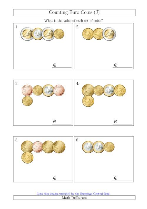 The Counting Small Collections of Euro Coins Without 1 or 2 Cent Coins (J) Math Worksheet