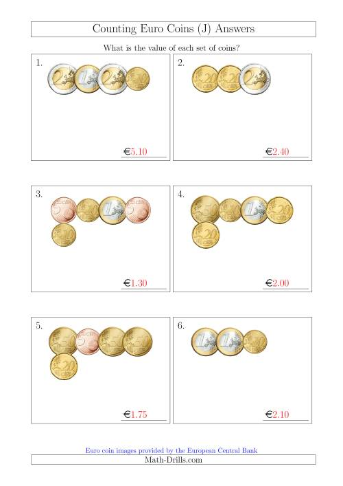 The Counting Small Collections of Euro Coins Without 1 or 2 Cent Coins (J) Math Worksheet Page 2