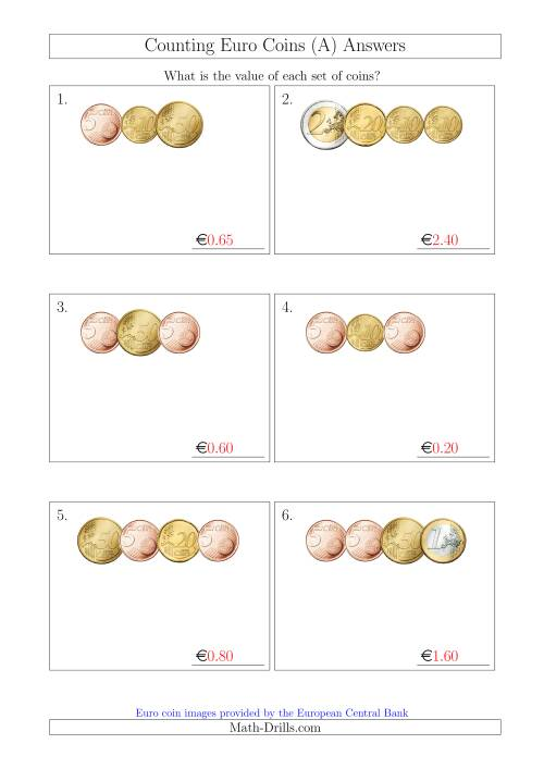 The Counting Small Collections of Euro Coins Without 1 or 2 Cent Coins (All) Math Worksheet Page 2